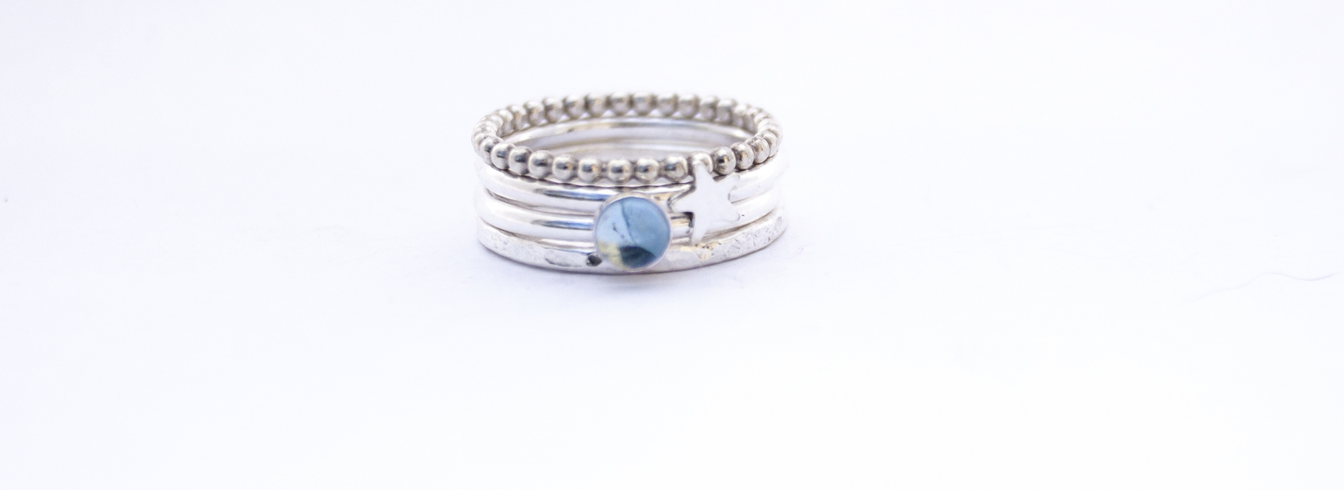 Aquamarine star silver stacking rings