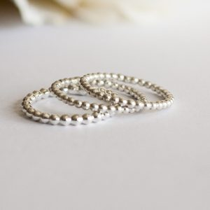 Beaded silver stacking rings