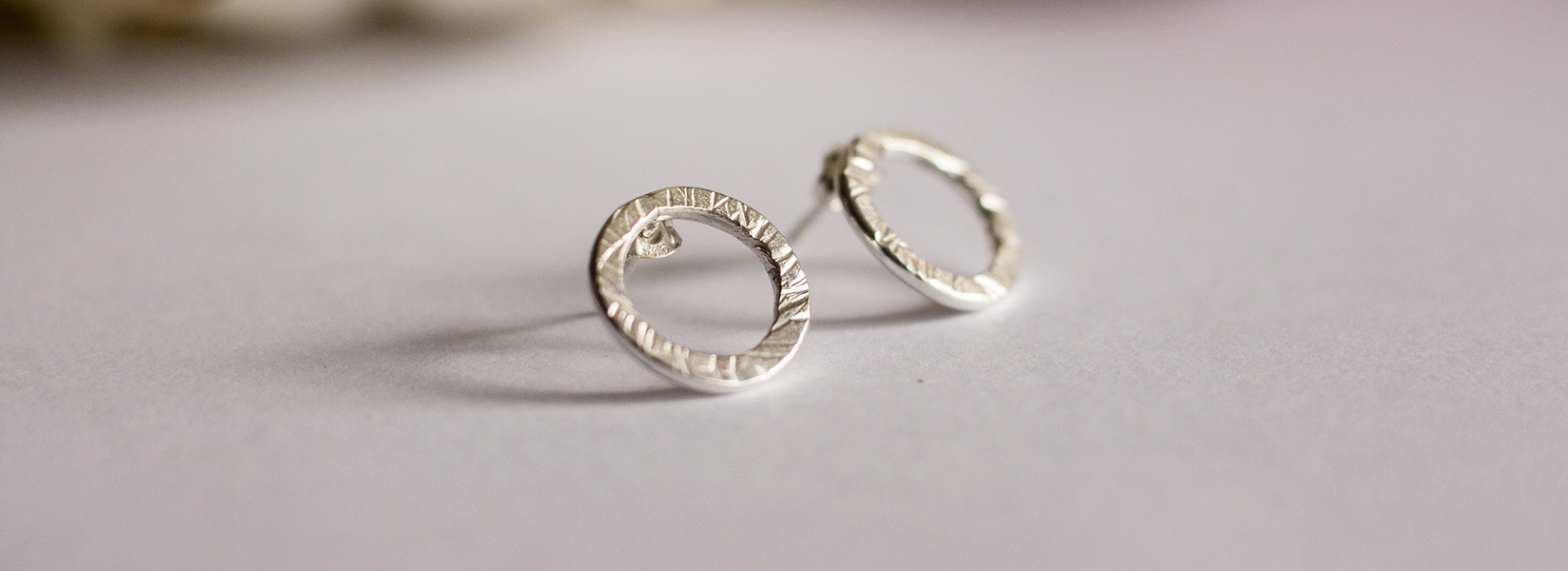 Open circle silver earrings
