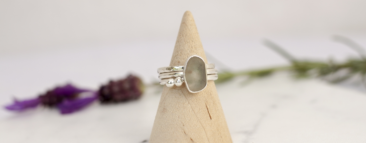 Sea glass & silver bubble stacking rings