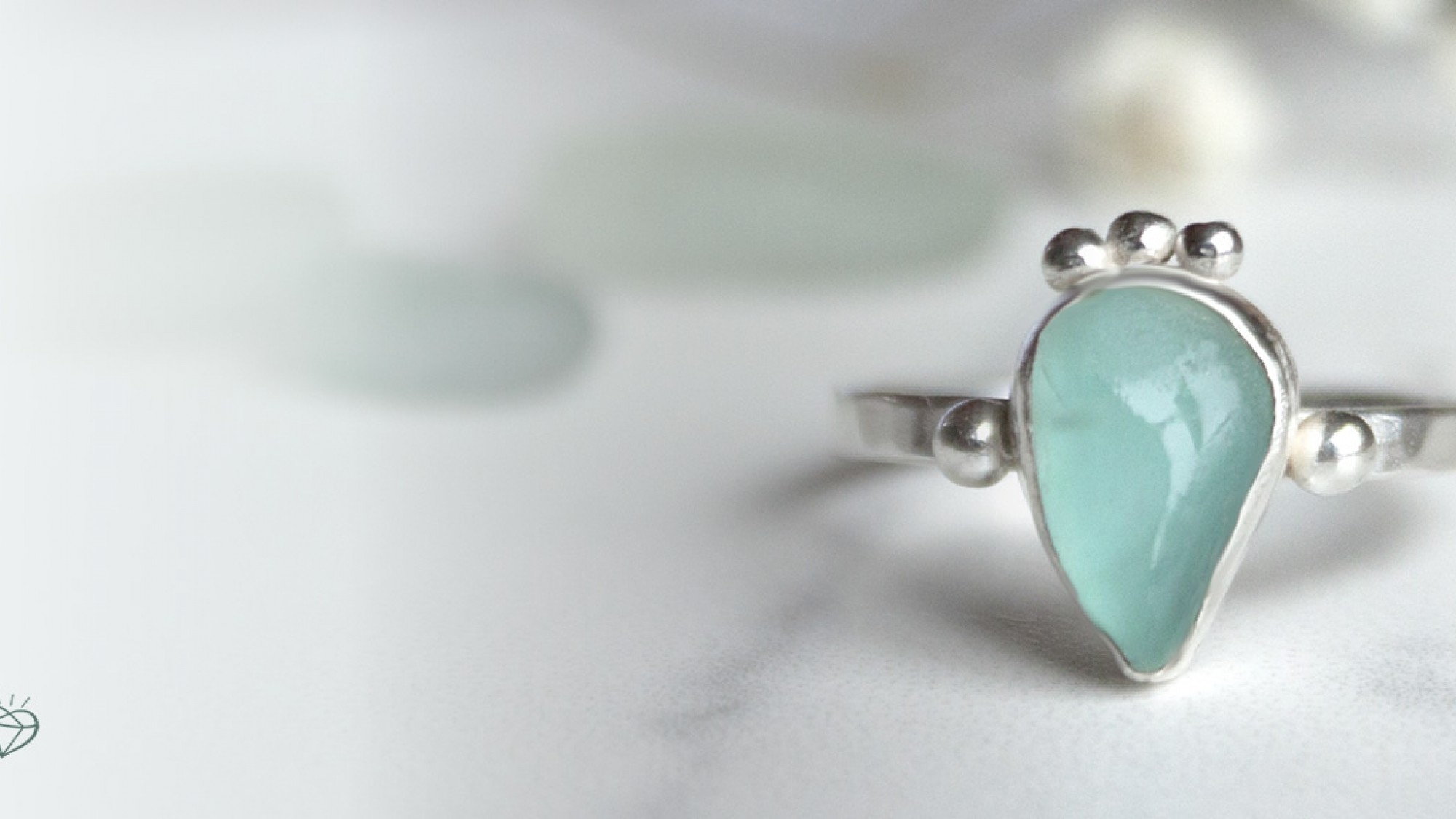 One off Sea glass rings